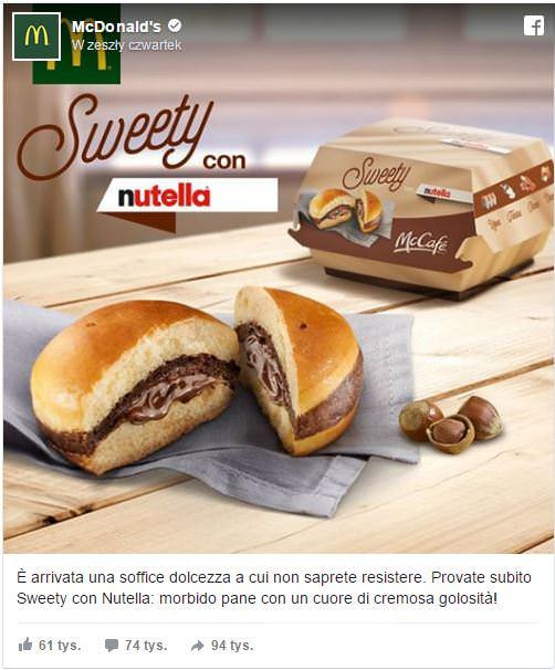 Burger z Nutellą Mcdonalds